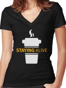 Staying Alive Women's Fitted V-Neck T-Shirt