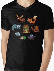 Woodland annimals Mens V-Neck T-Shirt