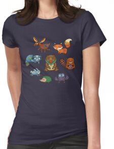 Woodland annimals Womens Fitted T-Shirt