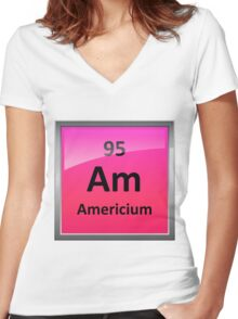 Americium Periodic Table Element Symbol Women's Fitted V-Neck T-Shirt