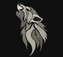 Howling Wolf on Black Unisex T-Shirt