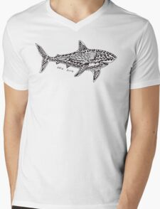 Polynesian Shark Mens V-Neck T-Shirt