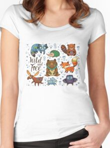 Woodland animals Women's Fitted Scoop T-Shirt