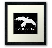 Winter is Here - Large Raven on Black Framed Print