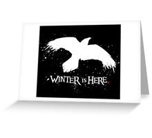 Winter is Here - Large Raven on Black Greeting Card