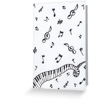 Music note and piano spiral Greeting Card