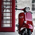 Red Vespa Scooter by AJ Airey