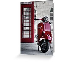 Red Vespa Scooter Greeting Card