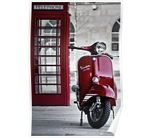 Red Vespa Scooter Poster