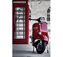 Red Vespa Scooter Photographic Print