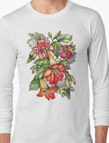 Red Trumpet Vine flowers. Long Sleeve T-Shirt