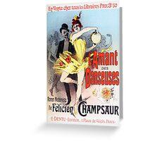 Vintage Jules Cheret L'Amant des Danseuses 1896 Greeting Card