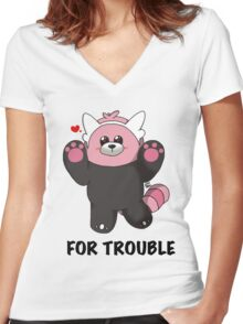BEWEAR for Trouble Women's Fitted V-Neck T-Shirt