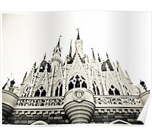 Cinderella's castle-black and white. Poster