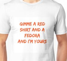 A red shirt and a fedora Unisex T-Shirt