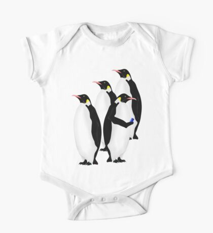 Penguin Using A Cell Phone One Piece - Short Sleeve