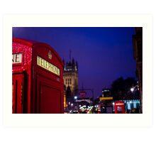 Wet London Phone Box Art Print