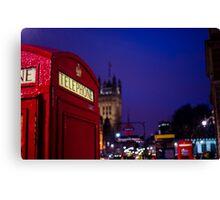 Wet London Phone Box Canvas Print