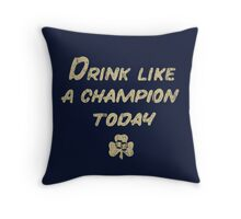 Drink Like a Champion - South Bend Style Dark Blue Throw Pillow