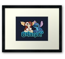 Gizmo and Stitch Framed Print