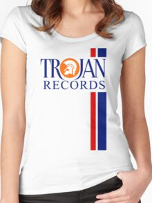 TROJAN RECORDS TWO STRIPE Women's Fitted Scoop T-Shirt