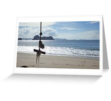 Swinging on the Beach Greeting Card