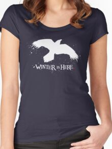 Winter is Here - Large Raven on Black Women's Fitted Scoop T-Shirt
