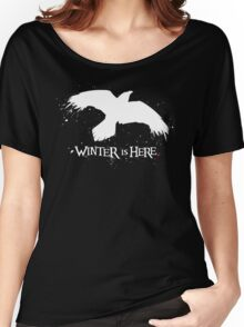 Winter is Here - Large Raven on Black Women's Relaxed Fit T-Shirt