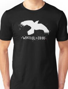 Winter is Here - Large Raven on Black Unisex T-Shirt