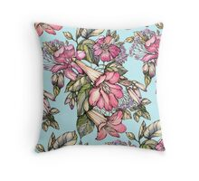 Red Trumpet Vine flowers on blue Throw Pillow
