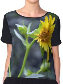 Beautiful sunny yellow flower macro. Chiffon Top