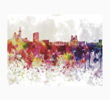 Marseilles skyline in watercolor background Kids Tee