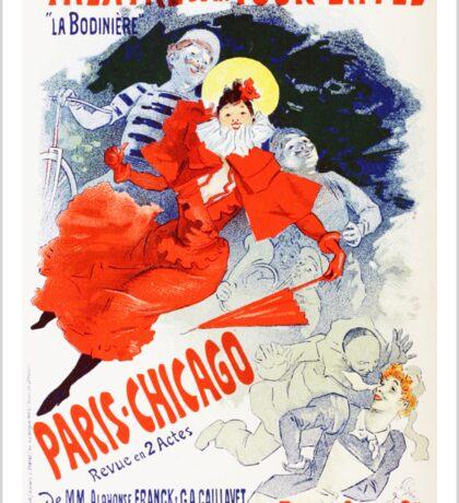 Vintage Jules Cheret 1896 Paris Chicago Revue Sticker