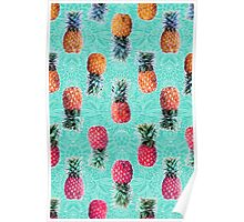 From Pineapple to Pink - tropical doodle pattern on mint Poster