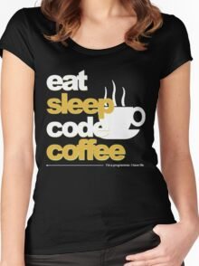 eat sleep code coffee Women's Fitted Scoop T-Shirt