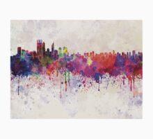 Perth skyline in watercolor background Kids Tee