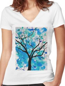 Blue Abstract Tree Drawing  Women's Fitted V-Neck T-Shirt