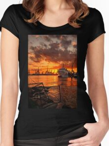 Sunset at the port Women's Fitted Scoop T-Shirt