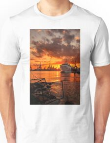 Sunset at the port Unisex T-Shirt