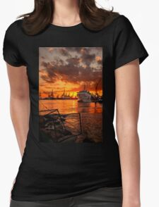 Sunset at the port Womens Fitted T-Shirt