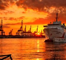 Sunset at the port Sticker