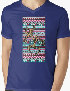 Deer Head Heart Aztec Mens V-Neck T-Shirt