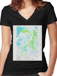 USGS TOPO Map Alaska AK Ugashik B-6 360108 1963 63360 Women's Fitted V-Neck T-Shirt