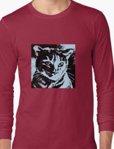 Cool Cat Graphic ~ black, blue and lavender Long Sleeve T-Shirt