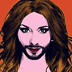 Conchita Wurst - Pop Art - Orange version 3 by lockwie