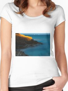 Sea view at night  Women's Fitted Scoop T-Shirt