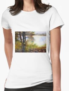 Near the  Lake in the Summer Day Womens Fitted T-Shirt