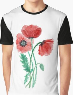 Red poppies painted with watercolor Graphic T-Shirt