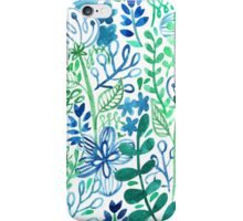 Blue Flower Ferns Painted Mosiac Watercolors iPhone Case/Skin