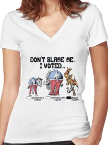Vote Pizza Party 2016 Women's Fitted V-Neck T-Shirt